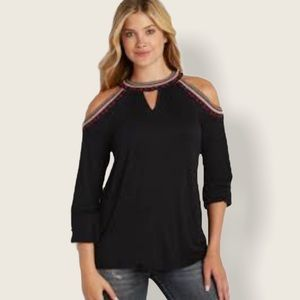 MAURICES Beaded Embroidered Cold Shoulder Lace Top